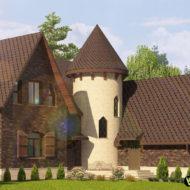 3D визуализация фасада с плиткой King klinker №20