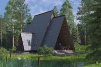 дом у озера 3д визуализация
